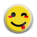 Badge : Smiley clin d'oeil jaune