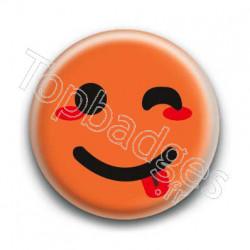 Badge Smiley Clin d'Oeil Orange