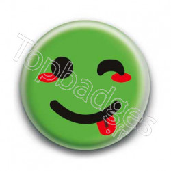 Badge Smiley Clin d'Oeil Vert