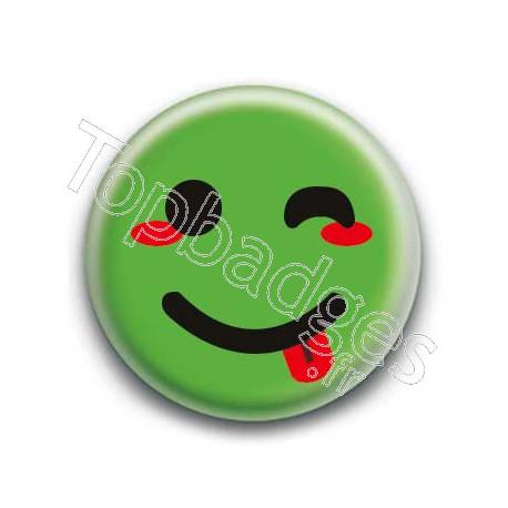 Badge : Smiley clin d'oeil vert