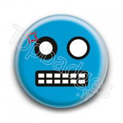Badge Smiley Colère Bleu