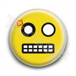 Badge Smiley Colère Jaune