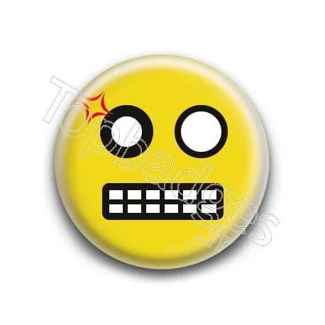 Badge : Smiley colère jaune