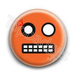 Badge Smiley Colère Orange