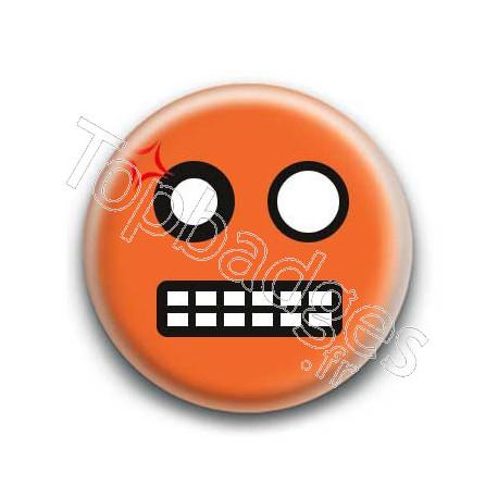Badge : Smiley colère orange