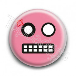 Badge Smiley Colère Rose