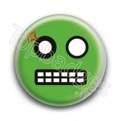 Badge Smiley Colère Vert