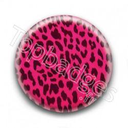 Badge Leopard Fushia Noir