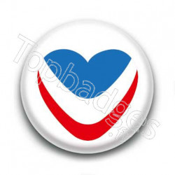 Badge coeur bleu blanc rouge