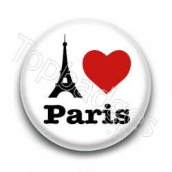 Badge I Love Paris avec Tour Eiffel