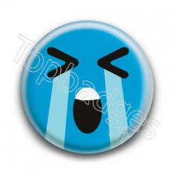 Badge Smiley En Larmes Bleu