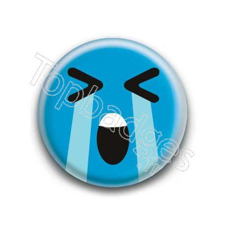 Badge : Smiley effondré bleu