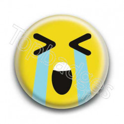 Badge Smiley En Larmes Jaune
