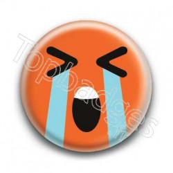 Badge Smiley En Larmes Orange