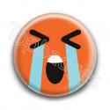 Badge : Smiley effondré orange