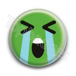 Badge Smiley En Larmes Vert