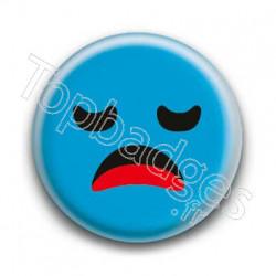 Badge Smiley Ennuyé Bleu