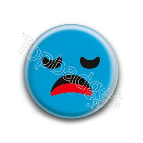 Badge : Smiley ennuyé bleu