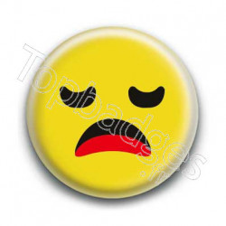 Badge Smiley Ennuyé Jaune
