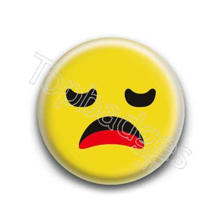 Badge : Smiley ennuyé jaune