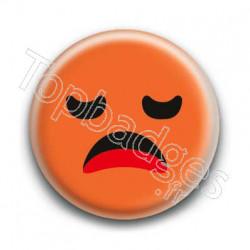 Badge Smiley Ennuyé Orange