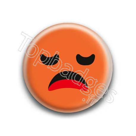 Badge : Smiley ennuyé orange