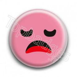Badge Smiley Ennuyé Rose