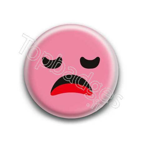Badge : Smiley ennuyé rose
