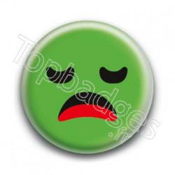 Badge Smiley Ennuyé Vert