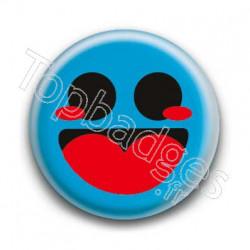 Badge : Smiley heureux bleu