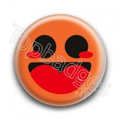Badge Smiley Heureux Orange