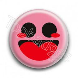 Badge Smiley Heureux Rose
