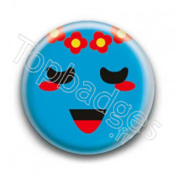 Badge Smiley Poétique Bleu