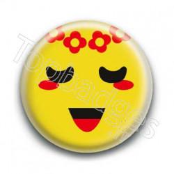 Badge Smiley Poétique Jaune