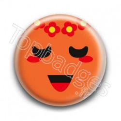 Badge Smiley Poétique Orange