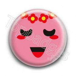 Badge Smiley Poétique Rose