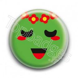 Badge Smiley Poétique Vert