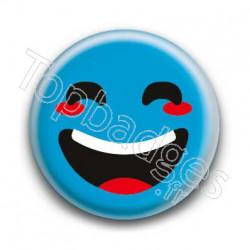 Badge : Smiley rieur bleu