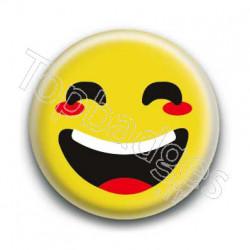 Badge : Smiley rieur jaune