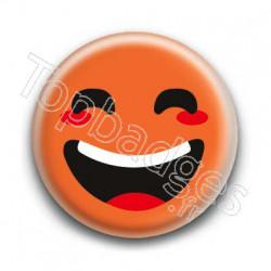 Badge : Smiley rieur orange