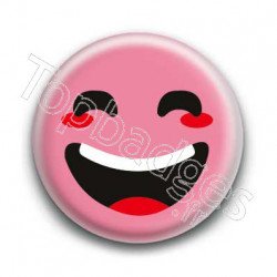 Badge : Smiley rieur rose