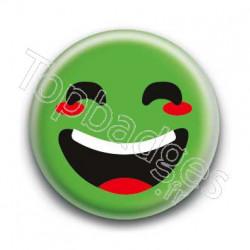 Badge : Smiley rieur vert