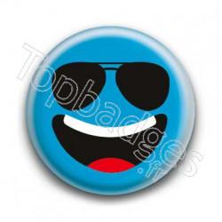 Badge Smiley Lunettes Qui Rit Bleu