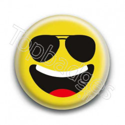 Badge Smiley Lunettes Qui Rit Jaune