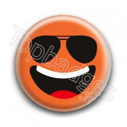 Badge Smiley Lunettes Qui Rit Orange