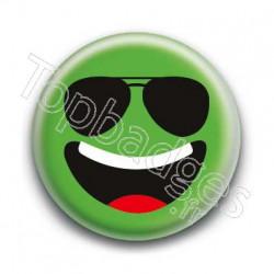 Badge Smiley Lunettes Qui Rit Vert