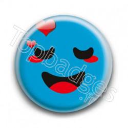 Badge Smiley Amoureux Bleu