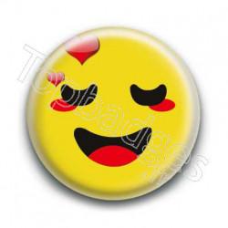 Badge Smiley Amoureux Jaune