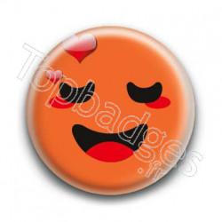 Badge Smiley Amoureux Orange