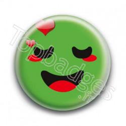 Badge Smiley Amoureux Vert